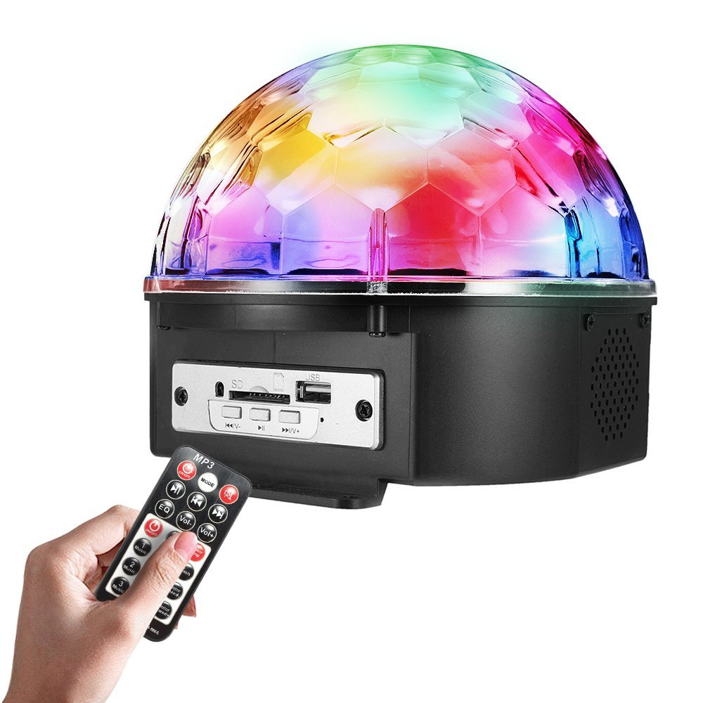 Stage Lights 9 Color LED DJ Disco Lights Party Lights Rotating Crystal Magic Ball Lights Sound