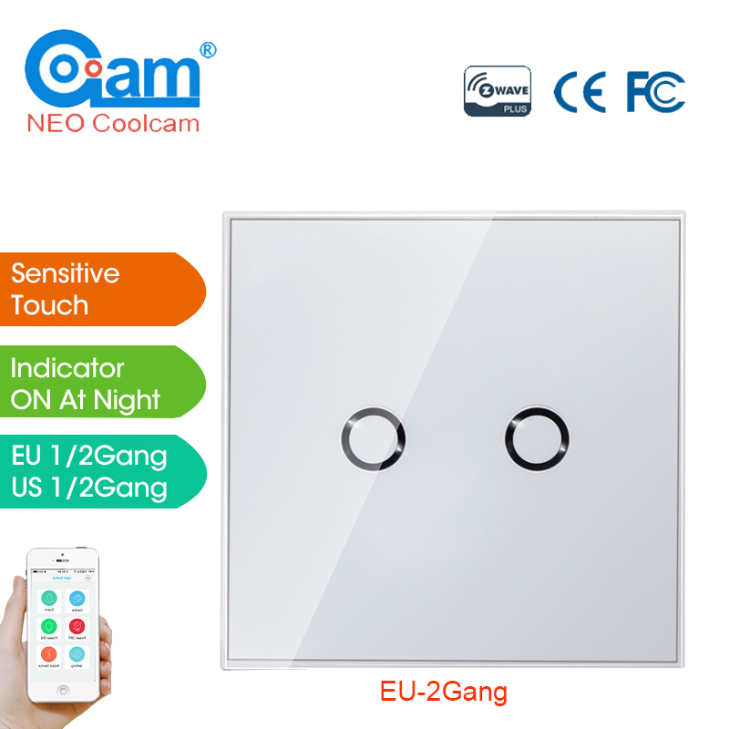NEO Coolcam Smart Home Z-Wave 2CH EU Wall Switch Sensor Compatible with Z-wave 300 series and 500 series Home Automation neo coolcam smart home z wave plus 1ch eu light switch compatible with z wave 300 series and 500 series home automation