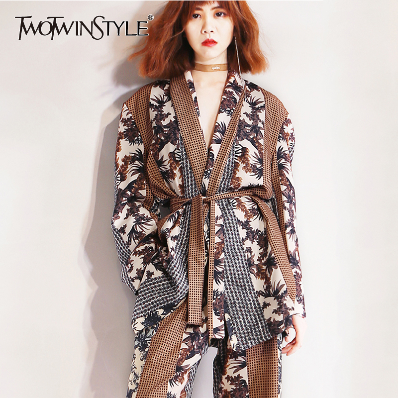 TWOTWINSTYLE Print Patchwork Two Piece Set For Women Long Sleeve With Sashes Blazer High Waist Hit Color Pants Suits Female 2019