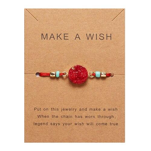 Rinhoo загадать пожелание Красочный натуральный камень тканый бумажный браслет карта Регулируемый счастливый красный String браслеты Femme модные ювелирные изделия - Окраска металла: 1
