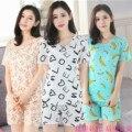 2017 nuevas mujeres pijamas set dulce Seda de La Leche de la Historieta del verano Mujer Ropa Interior Traje de Casa ropa de Dormir de manga corta Pijama