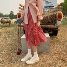 Korean Vintage Boho Style Summer Thin High Waist Elastic Long Skirts Red Stripe Pleated Midi Skirt Womens