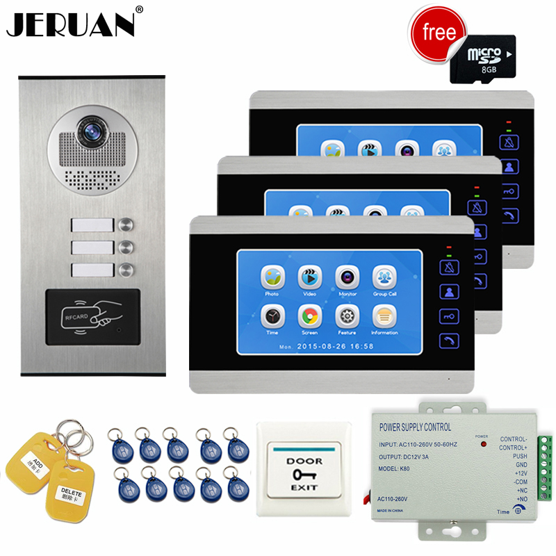 JERUAN Apartment 7 inch Video Doorbell Door Phone Video/Voice Record Intercom system Kit HD RFID Access Camera For 3 Household free shipping 7 video intercom apartment door phone 3 monitors system outdoor camera for 3 family metal rfid access system