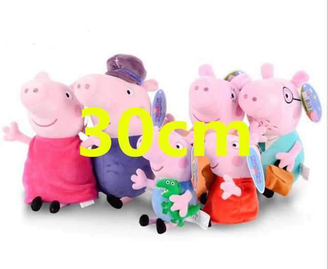 High Quality 30cm Pink Pig Plush Toy Figures Pink Pig Family Daddy Mummy George Pig Plush Stuffed Toys Children Gift Baby Doll