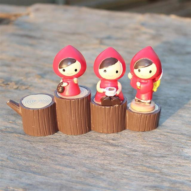 Little Red Hood Miniature Girl Figurine Decoration Wedding Mini Fairy  Garden Statue Resin Craft Toy Ornaments