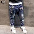 ОН Привет Наслаждаться Мальчиков брюки джинсы 2016 Модные Мальчики Джинсы для Весна Осень детские Брюки Джинсовые Дети Темно-Синий Дизайн брюки