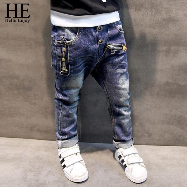 ELE Olá Desfrutar Meninos calças jeans 2016 Moda Jeans Meninos para a Primavera Outono das Crianças Denim Calças Crianças Azul Escuro Projetado calças