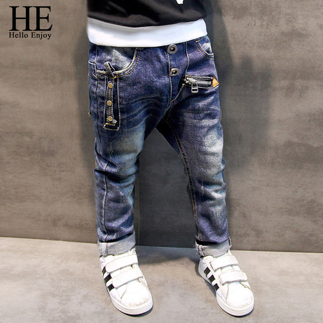 HE Hello Enjoy Boys pants jeans 2016 Fashion Boys Jeans for Spring Fall Children's Denim Trousers Kids Dark Blue Designed Pants