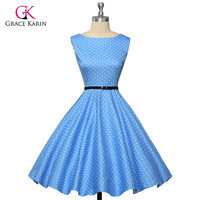 Grace Karin Womens Cocktail Dresses Summer Style Floral Print Retro Vintage 50s Casual Party Rockabilly Dress
