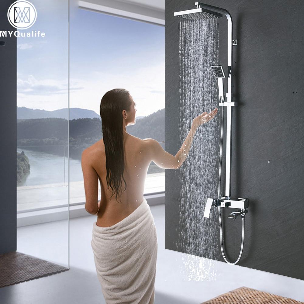 Luxury Bathroom Shower Faucet Set Single Handle Brass Spout 8 Rain Shower Head and Handshower Bath Shower Kit Mixer Valve bathroom chrome shower faucet set with thermostatic mixer valve wall mount 8 ultrathin rain showerhead handshower