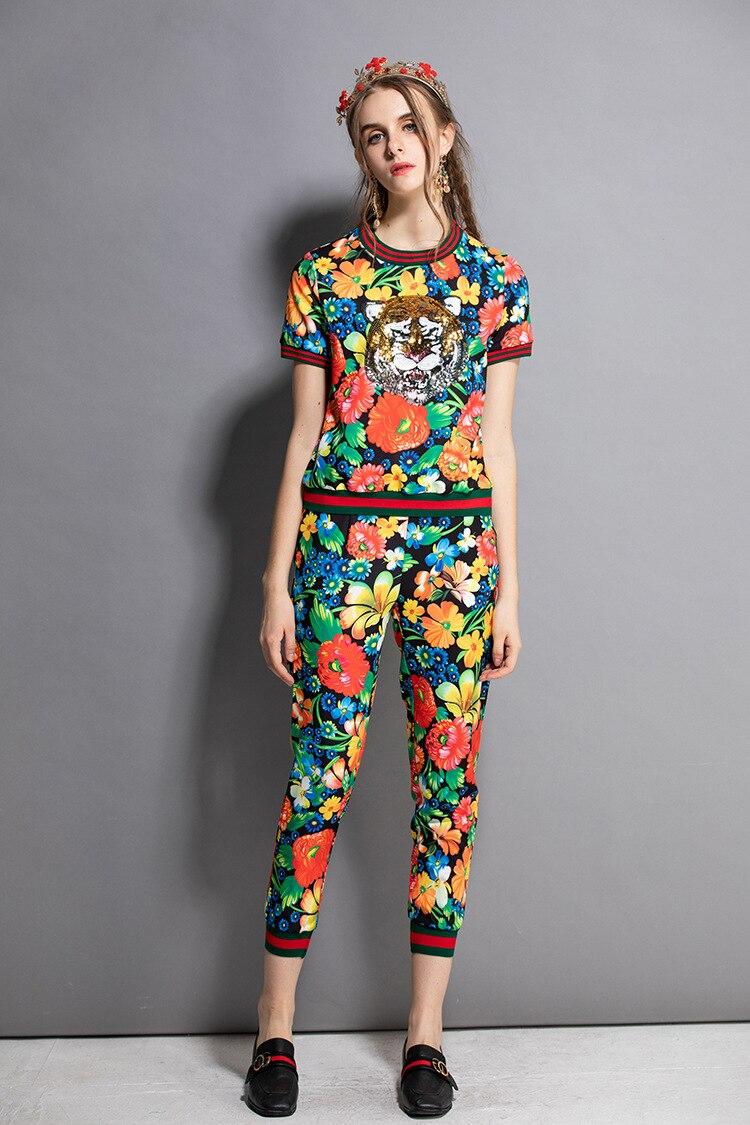 Deux D176 Mode As Vintage 2018 Crayon D'été Loisirs Pièces Show Picture Ensemble Imprimé Floral Femmes Pantalon shirts T Nouveau Costumes De TzT6qr