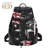 Casual Large Capacity Drawstring Backpack For Girls Women Rivet Students School Bag UK Flag Nylon Female Backpack