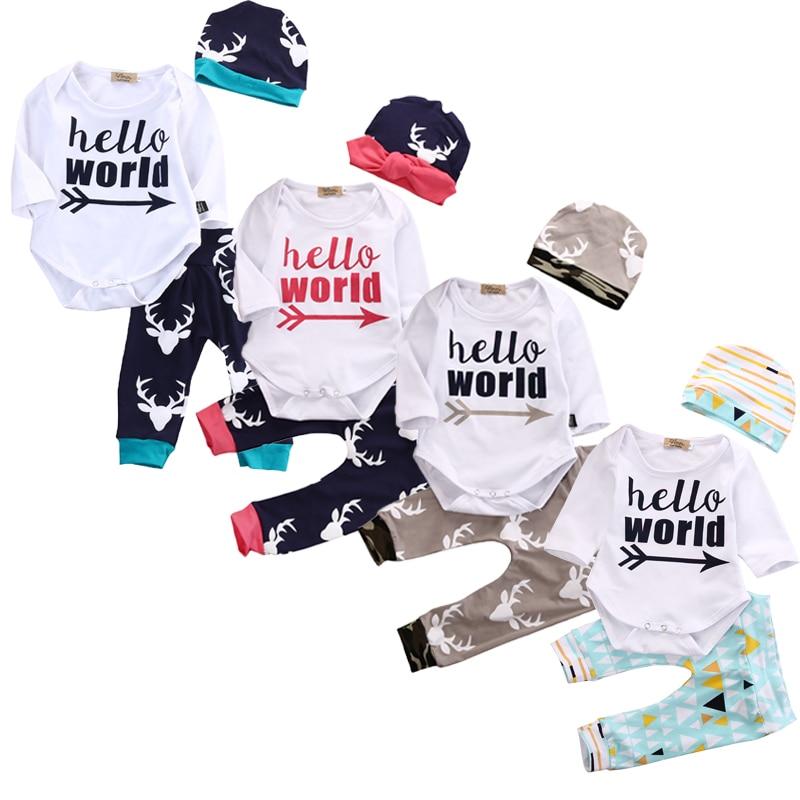 5e6c8f2e0ae Newborn Baby Boy Clothes Set Hello World Deer Short Sleeve romper+hat+pants  newborn 3pcs Set summer baby outfit