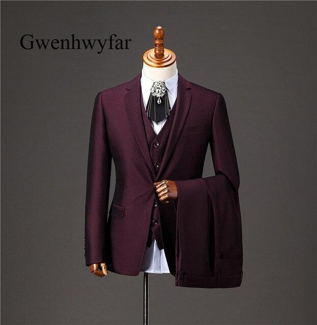 Gwenhwyfar hombres traje 2018 alta calidad rojo oscuro hombres trajes 3  unidades volver Vent hombres de 6f3f79a4a97