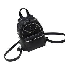 Новая мода Дамские туфли из PU искусственной кожи с заклепками рюкзак женские рюкзаки для девочек-подростков женские сумки на молнии черные мешки