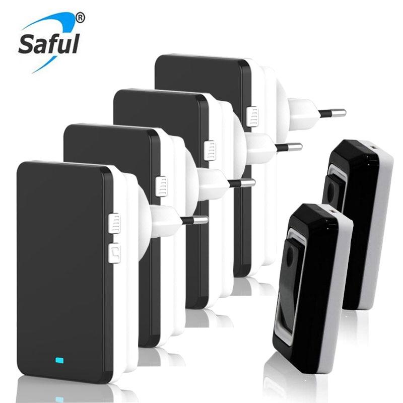 Saful Waterproof Doorbell Wireless 28 Ringtones Doorbell Button 2 Out Transmitters + 4 Doorbells Receiver EU/US/UK/AU Plug