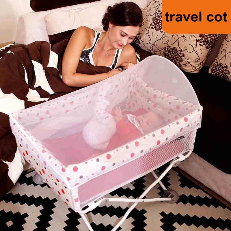 fold Baby Travel Crib, light 4.3kg Infant cot, can take on plane baby bed 2in1 baby travel crib can be mummy bag protable fold travel baby bed