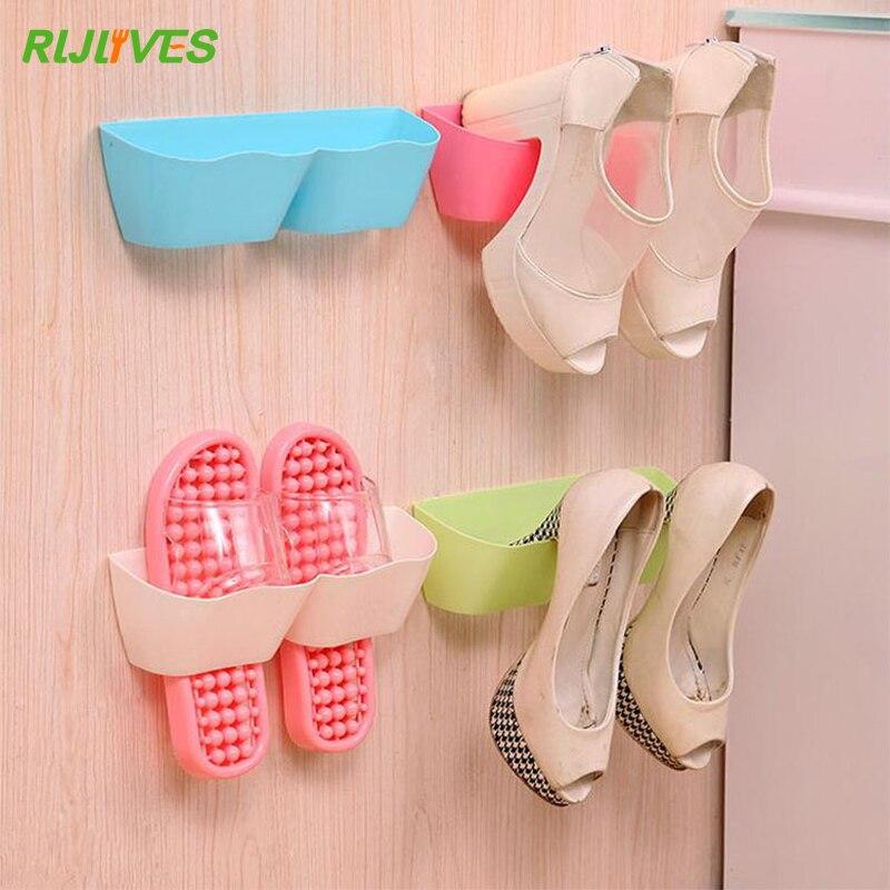 RLJLIVES Wall-Mounted Sticky Hanging Shoe Hook Shelf Rack Shoes Holder Storage Organizer
