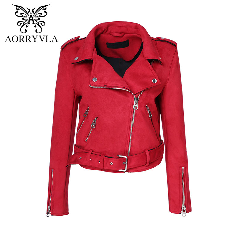 AORRYVLA Fashion   Suede   Faux   Leather   Jacket For Women Autumn 2018 Turn-Down Colors Zippers Motorcycle Lady Coat Hot Sale AO-371