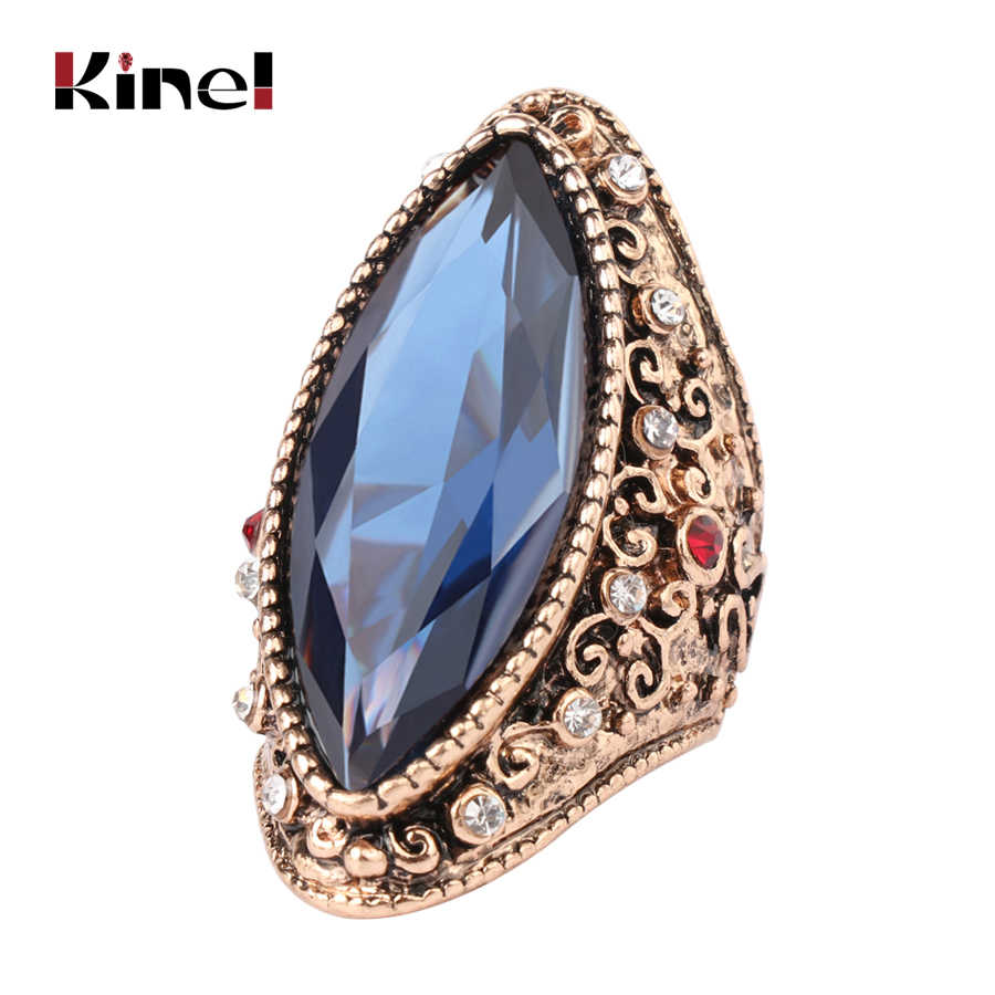 Kinel Hot Fashion Big Crystal Ring Ancient Gold Vintage Jewelry Unique Blue  Rings For Women Party b9f16a1e6e9d