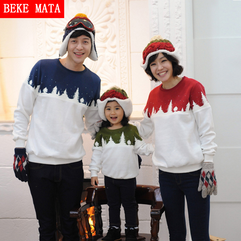 BEKE MATA Family Matching Clothes Winter 2016 Cotton Matching Mother Daughter Clothes Warm Family Look Father