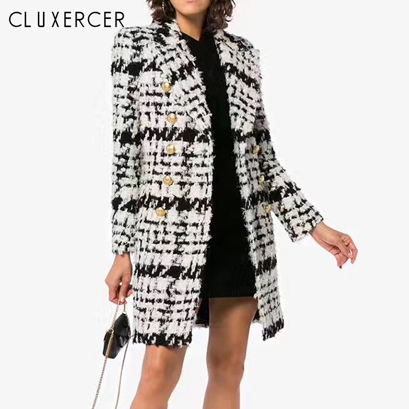2018 Autumn Winter New Fashion Women Trench Coat Classic Checkerboard Double Breasted Office Lady Wool Long Coat Windbreaker