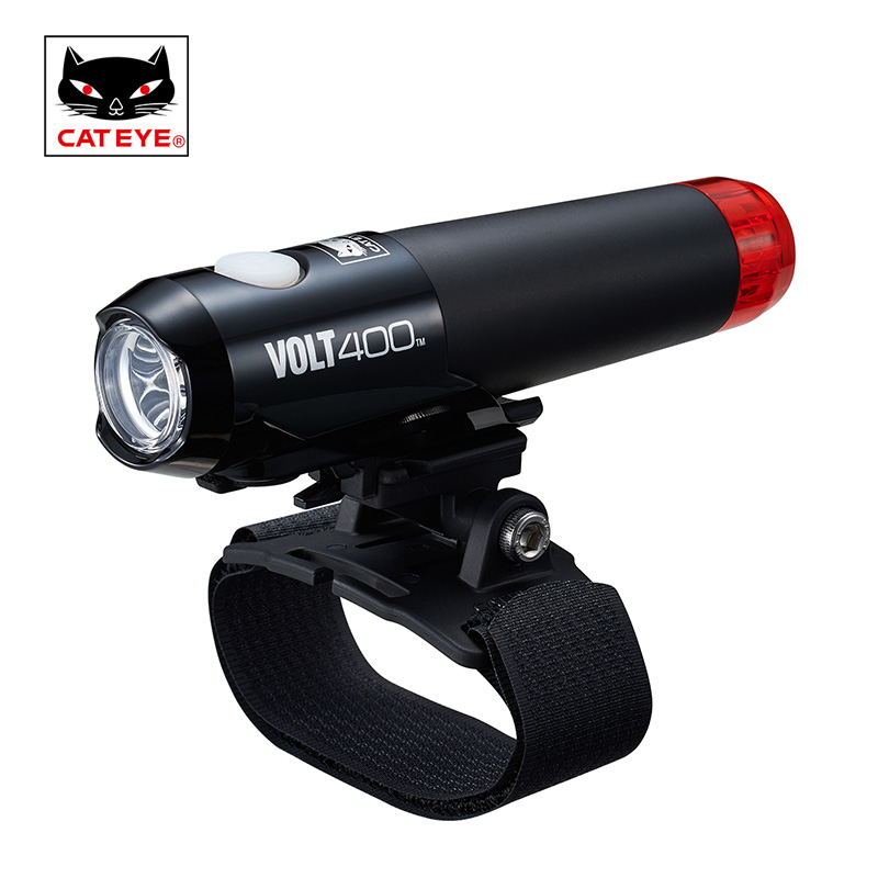 Cateye Bike Helmet Headlight Taillight Cycling Multifunction Integrated Front Rear Safety Lights Volt400 Duplex USB Rechargeable