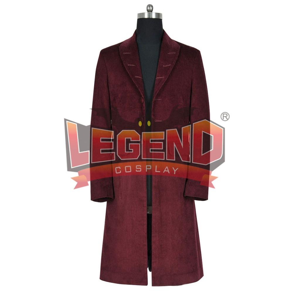 Hot! Who is Doctor 4th Doctor Plum Red Long Coat Costume