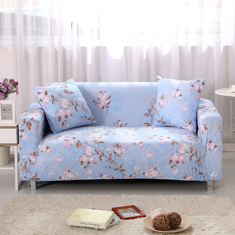 Country Leather Sofa: Country Pastoral Floral Blue Universal Elastic Single