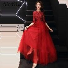 Vestidos De Gala Red Sequin Zipper O-neck Long Dresses Women Party Night Tight Tulle Half Sleeve Prom Dress Plus Size 2019 E458