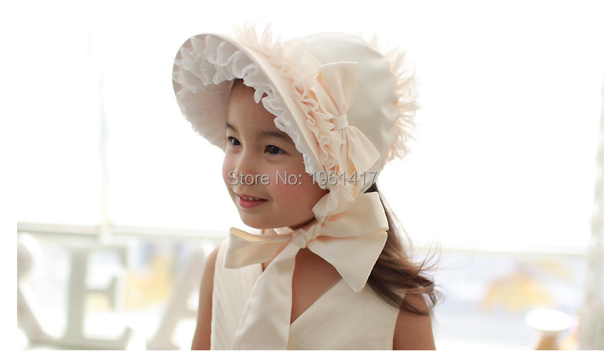 2016 Beautiful Girls Lace Cap Princess Hat Baby 's Bow Bonnet Handmade - My store