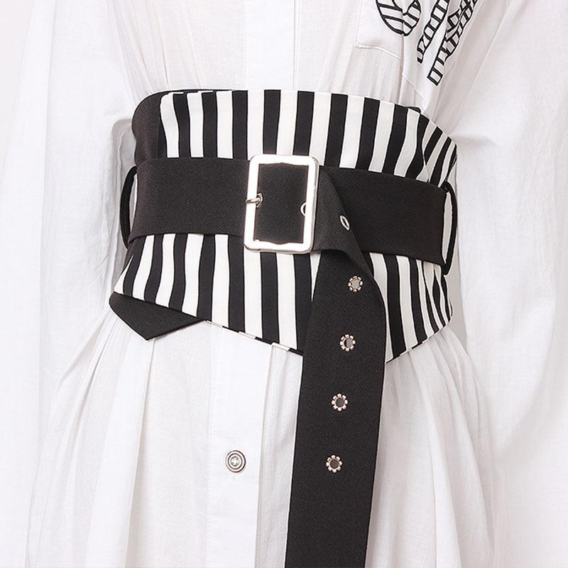Vintage Stripe Cummerbund Women Fashion Corsets Waistband Bandage Wide Belts For Women Buckle Belt Women's Clothing Accessories