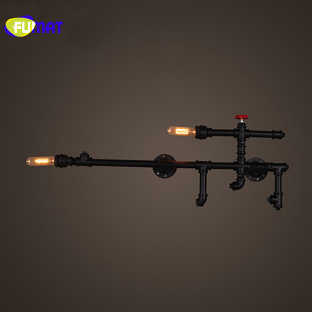 FUMAT Loft Rustic Wall Sconces Home Lighting Industrial Dinning Room Bar Retro Black Iron Water Pipe Sconces Wall Lamps