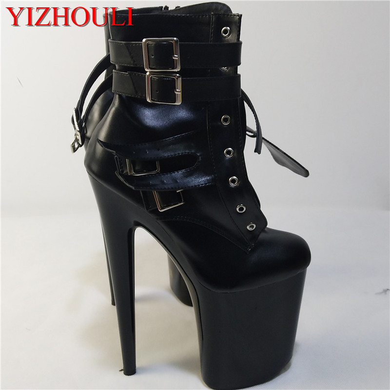 Female motorcycle fashion short boots buckle ankle boots 20 cm high heel classic spring black and