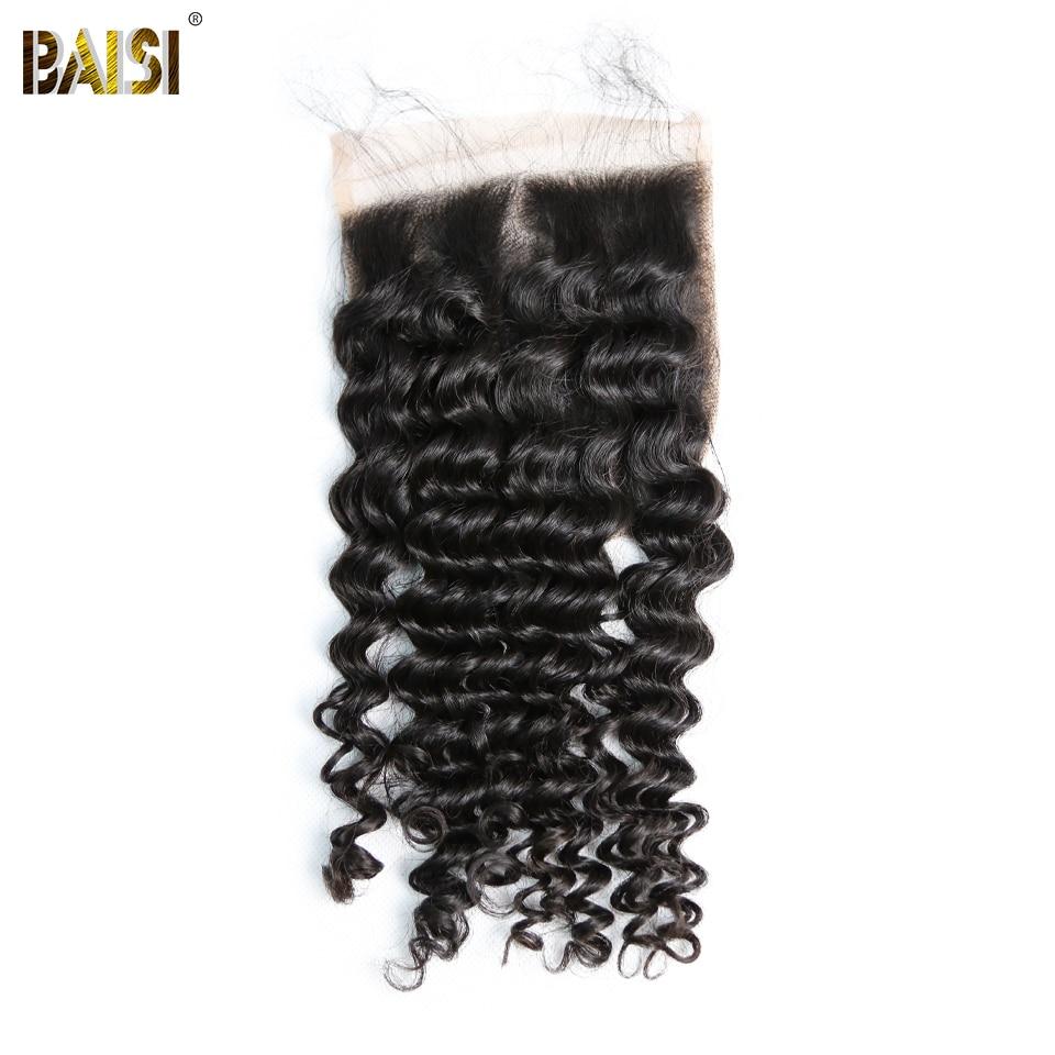 BAISI Peruvian Deep Wave 5x5 Swiss Lace Closure Pre Plucked Nature Hairline 100 Human Virgin Hair
