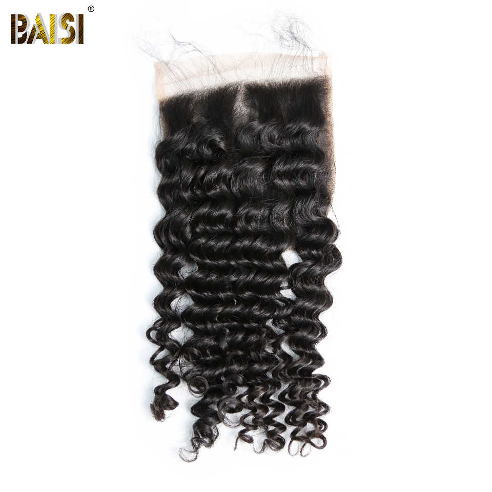 BAISI Peruvian Deep Wave 5x5 Swiss Lace Closure Pre-Plucked Nature Hairline 100% Human Virgin Hair