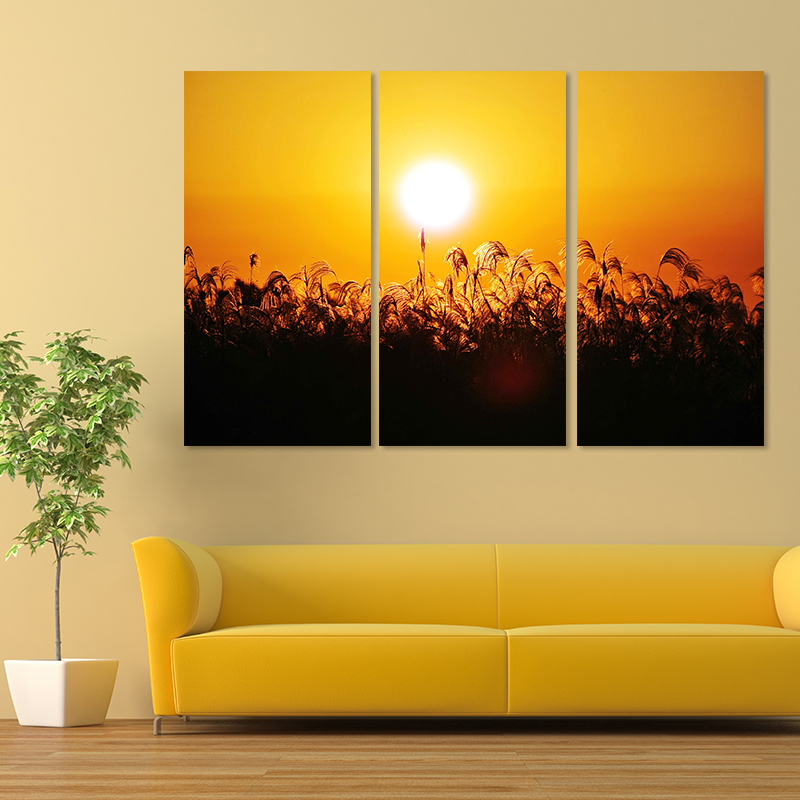 Big size straw 3pcs village decoration sun wall art pictures sunset ...