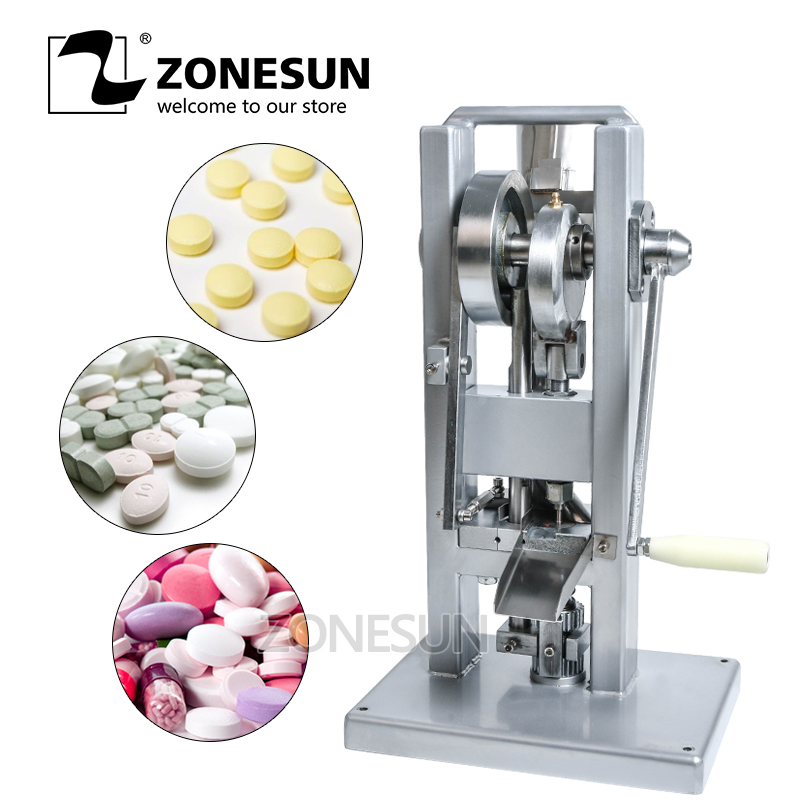 ZONESUN TDP0 Manual Single Punch Sugar Tablet Press Machine Sugar Milk Slice Making Hand-Operated Mini Type Calcium Tablet Maker