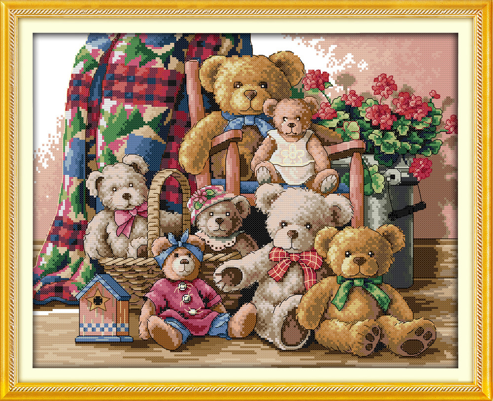 Famiglia Happy Bear Canvas DMC contati Cross Stitch Kit stampati Set punto croce Ricamo ad ago