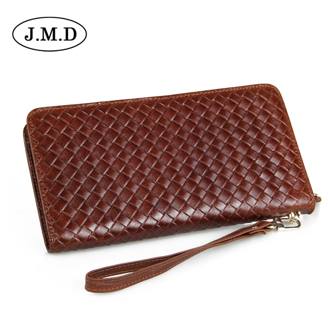 2017 Fashion Solid Knitting pattern Leather Men\'s wallet long purse ...