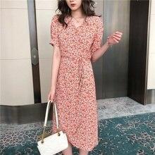 Women's Maxi Dress Floral Chiffon Long Dresses Women V-neck Print Dress Sudress Female Summer