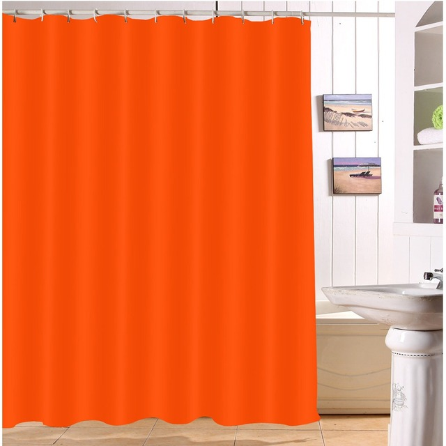 LB 180180 Waterproof Solid Color Shower Curtains Polyester Print Bathroom Curtain Screens Fabric For