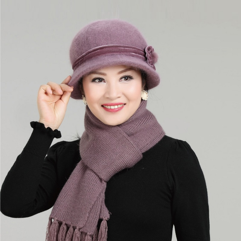 Wool Mixed Rabbit Fur Warm Outdoor Knitted Beanies Baggy Headwear Cap New Fashion Women Winter Hat Sets Floral Skullies rabbit fur hat fashion thick knitted winter hats for women outdoor casual warm cap men wool skullies beanies