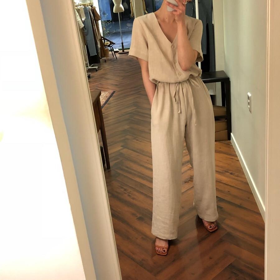 2019 Casual Women Summer   Jumpsuit   Light Khaki Color Full Length Cotton Wide Leg   Jumpsuits
