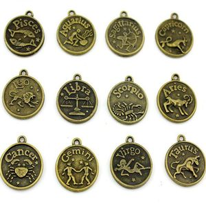 Металлическая подвеска с 12 знаками Зодиака, античные бронзовые подвески Leo/Aries/taureus/Gemini /Cancer/Virgo/Pisces для женщин, ювелирные изделия