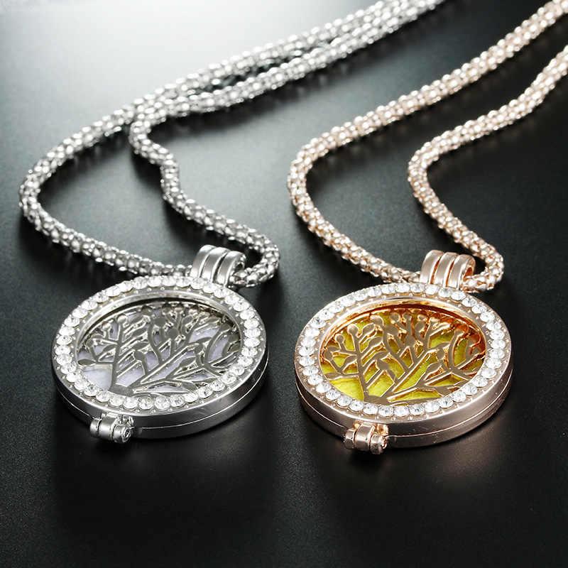 Gorąca drzewo życia kryształ okrągły mały wisiorek naszyjnik złoto srebro kolory Bijoux Collier eleganckie kobiety biżuteria prezenty Dropshipping