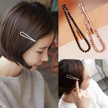1Pc Women Girls Black White Crystal Rehinstone Fashion Hairpins Alloy Barrette Hair Clips
