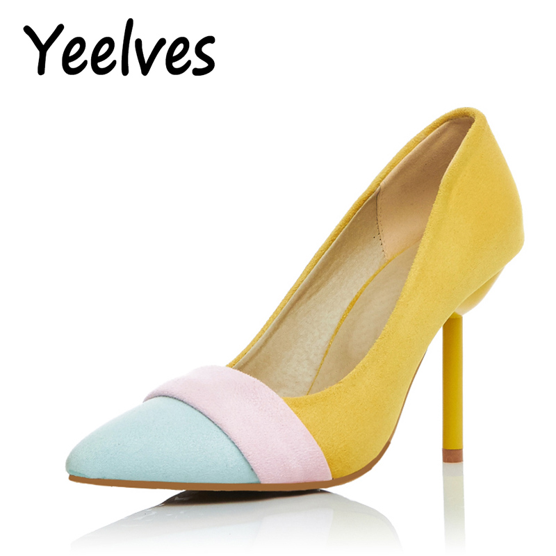 Women Fashion Pointed Toe Thin High heels Pumps Shoes Woman Sweet girl Yellow Beige bridal Wedding Shoes Ladies big size pumps facndinll women pumps fashion middle heels pointed toe shoes woman square toe shoes ladies offcie dress casual date woman pumps