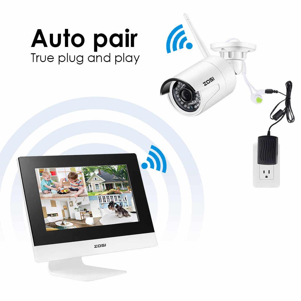 "ZOSI 10 ""lcd 4CH Беспроводной NVR комплект безопасности CCTV камера система 960P HD уличная Wifi IP камера видеонаблюдения 500GB HDD"