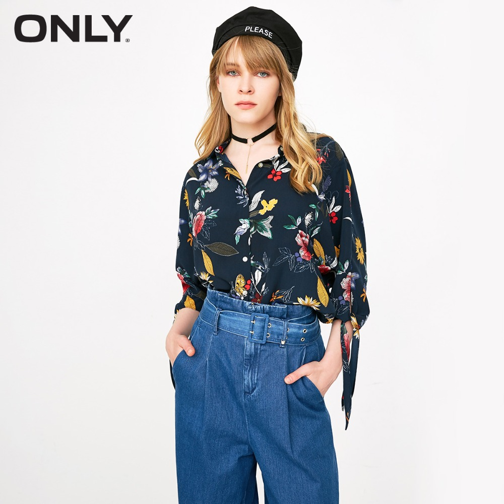ONLY Women's  New Print V-neck Bandwidth Loose Shirt | 118331507